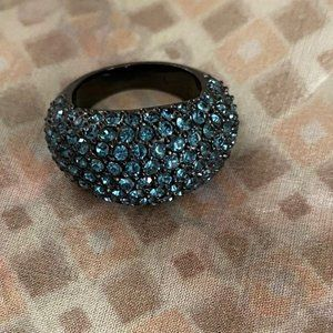 Coach Ring (Black with Blue Pave Stones)
